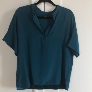 Lafayette 148 silk blouse teal size large